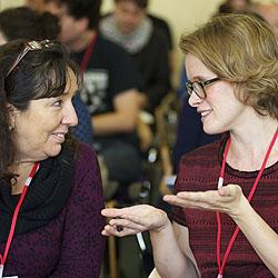 Delegates chatting