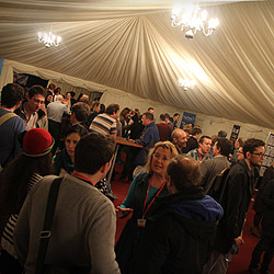Networking drinks in the Final Draft Marquee