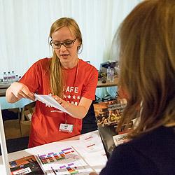 Volunteers help at Registration